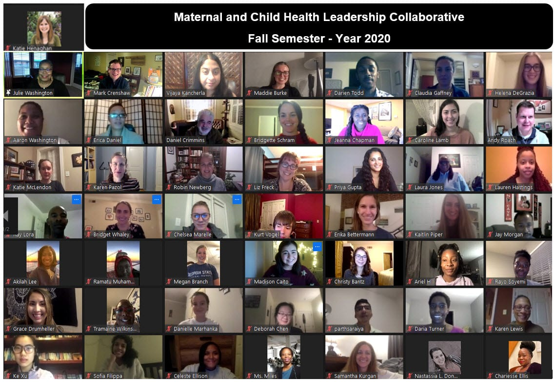 Collage of students on a group zoom call