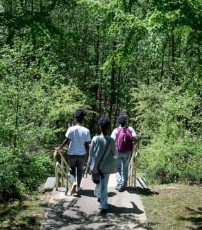 Students walking on the Alpharetta campus nature trail